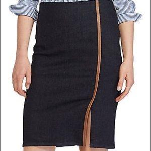 NWT Ralph Lauren leather-trim denim skirt, sz 10